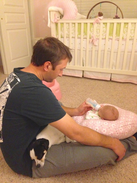 Daddy feeding Ella